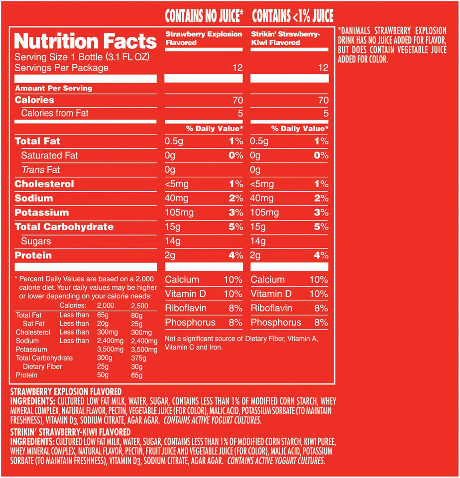 Danimals - 14g of sugar for only 2g of protein? Even the added vitamins don't justify this product.