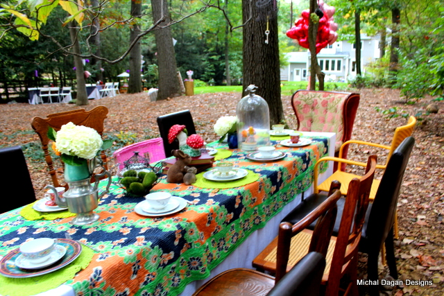 Tablescape for Table #2 with view to Alice's chair